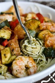 Shrimp, Zucchini & Pesto Angel Hair Pasta _  We finally found a brand of frozen shrimp we love – It's frozen wild USA shrimp, already peeled, and tasty! Upon my arrival, I found an exercised, showered, chef-of-a-husband putting the finishing touches on dinner!