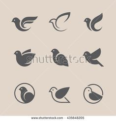 Bird icons set. Dove and pigeon abstract symbol. Can be used for freedom or peace, spa, beauty, health or family care center logo concept