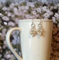 Cultured Pearl Hoop Earrings with White Cultured by SmockandStone, $17.00
