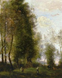 A Shady Resting Place by Jean-Baptiste-Camille Corot (Jean Baptiste Camille Corot), Oil on canvas