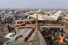 Market on old airport of Bangui, capital of Central African Republic