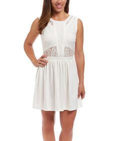 Look what I found on #zulily! Ivory Lace Cutout Dress #zulilyfinds