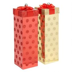 One of my favorite discoveries at ChristmasTreeShops.com: Glittery Red/Gold Wine Gift Boxes, Set of 2