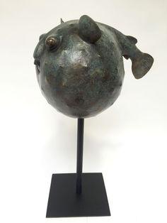 Poisson Globe, sculpture en bronze, numérotée et signée Florence Jacquesson