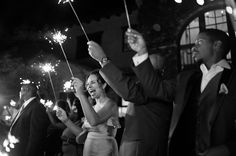 Glowing wedding photo featuring sparklers