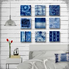 Indigo Tie Dye Batik Glass Wall Art - Handmade Decoupage 5, 6, 7, 8 or 9 inch Set of 9 Square Glass Wall Blocks - I've got the Blues by tzaddihome on Etsy https://www.etsy.com/listing/238810821/indigo-tie-dye-batik-glass-wall-art