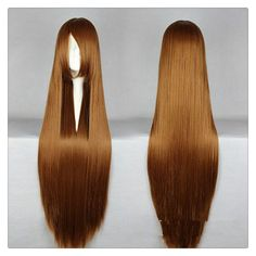 "Women Fashion 100CM/39"" Long straight Cosplay Fashion Wig heat resistant resistant Hair Full Wigs brown"