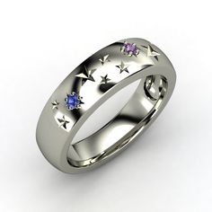 Round Amethyst Sterling Silver Ring with Sapphire   Written in the Stars Ring   Gemvara