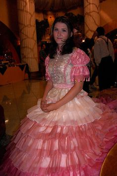 I love this episode from Firefly. Kaylee's dress is over the top and a bit frilly. An impractical dress for a practical lady. Hate the pink, but for Firefly, I'll suffer. Frilly Dresses, Satin Dresses, Dress Cake, Dress Up, Firefly Cosplay, Raven Cosplay, Kaylee Firefly, Jewel Staite, Southern Belle Dress