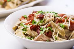 Are you ready for this? Eggplant noodles soak up all of the bacon flavor then are coated with a quick Alfredo sauce and tossed with crispy bacon.