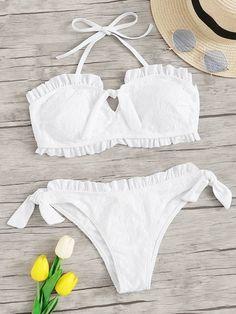 Shop Frill Trim Halter Top With Tie Side Bikini Set online. SHEIN offers Frill Trim Halter Top With Tie Side Bikini Set & more to fit your fashionable needs. Bikini Swimwear, Bikini Set, Thong Bikini, Swimsuits, Halter Bikini, Bikini Ready, Bra Types, Beachwear For Women, Lingerie