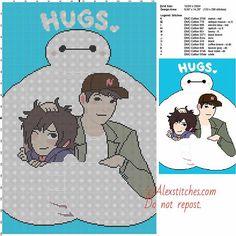 Hugs Baymax free cross stitch pattern 133x200 12 colors