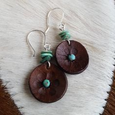 Turquoise and Leather Flower Blossom Earrings - Hand Tooled Leather - Srerling Silver - Cowgirl Jewelry - Southwestern - Cowgirl Earrings Denim Earrings, Diy Leather Earrings, Leather Jewelry, Leather Craft, Macrame Earrings, Metal Jewelry, Cowgirl Jewelry, Boho Jewelry, Jewelery