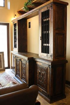 Custom Hacienda Style Build In Piece Manufactured With Wrought Iron Grills.  Spanish Style Houses,