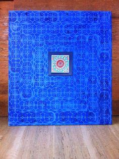 Tela Azulejo Grego em pintura acrilica 2014 - 90x100 - acrylic on canvas - Melina Ollandezos