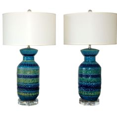 Bitossi Ceramic Lamps in Greens and Blues | From a unique collection of antique and modern table lamps at https://www.1stdibs.com/furniture/lighting/table-lamps/