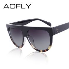 91ab51ce70 AOFLY Flat Top Vintage Style Design Rivet Big Frame Sun Glasses