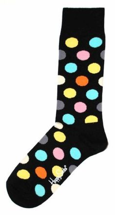 Happy Socks Men's Big Dot 1, Black/Bright, 10-13 Happy Socks. $12.00. 80% Combed Cotton, 17% Polyamide, 3% Elastane. Sock. Machine Wash. Black/bright