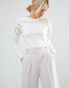 White Lace Shoulder Jumper, White Classic Pants High Waist