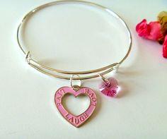Live Love Laugh and Pink Crystal Heart Charm Adjustable Bangle Bracelet #Handmade #banglebraceletadjustable