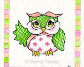 love the border! Whimsical owl children's painting, green checkered owl 6 x 6 inch print