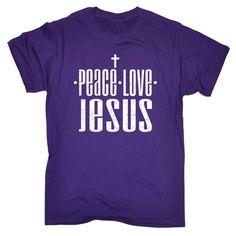 123t USA Men's Peace Love Jesus Funny T-Shirt