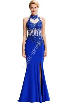 Niebieska suknia wieczorowa zdobiona aplikacjami z gipiury i kryształkami | niebieskie sukienki wieczorowe