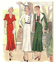 1933 Women's Fashion Illustration by Nina Ricci