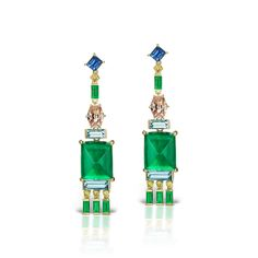 Jane Taylor Jewelry - One-of-a-kind Cirque Earrings with emeralds, blue sapphire, aquamarine, yellow and champagne diamonds