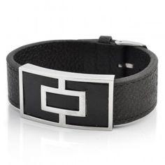 Zwarte Lederen Armband V2 met Stalen Motief