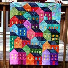 Finished piecing my Hillside Houses!  Loved making this. Thank you Cristina Tepsick of @prettylittlequilts for such a fun pattern! #hillsidehousesqal