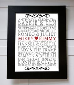 Subway Art Custom Famous Couples Names & Yours by BeauChicPrints, $15.00
