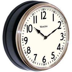 "Westclox 12"""" Round Vintage Kitchen Classic Clock Black"