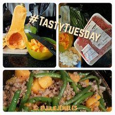 Butternut Squash, Green Beans, & Ground Beef Goulash.