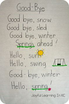 Would be a good copying activity Joyful Learning In KC: Spring Poems for Shared Reading Time Kindergarten Poems, Preschool Poems, Kids Poems, Spring Preschool Songs, Spring Activities, Easter Songs For Preschoolers, English Poems For Children, Shared Reading, Reading Time