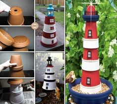 Looking for a simple project to decorate your yard? Why not make this DIY clay pot lighthouse? For the full tutorial go here