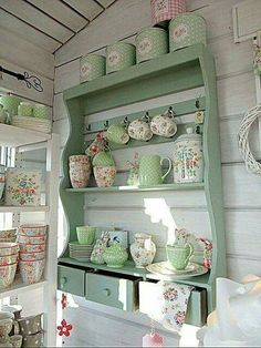 Country Cottage Style kitchen green hutch