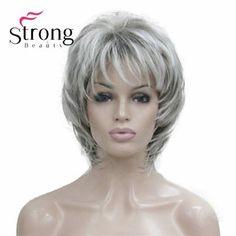 Medium Hair Cuts, Short Hair Cuts, Medium Hair Styles, Short Hair Styles, Synthetic Lace Front Wigs, Synthetic Wigs, Wavy Pixie Cut, Balayage Hair Grey, Layered Haircuts With Bangs