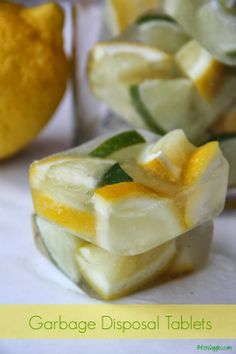 DIY Garbage Disposal Tablets - Made with lemons, limes and vinegar. How easy! Add 1/2 cup of baking soda to disposal before dropping one in to keep your sink and kitchen smelling fresh! {BitznGiggles.com}