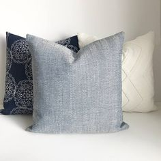Navy and beige herringbone decorative throw pillow cover