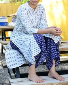 White Ikat Kurta With Blue Printed Palazzo  |  Shop now: www.thesecretlabel.com