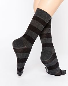 Socks by Happy Socks Cotton-rich fabric Striped design Ribbed trim Machine wash 80% Cotton, 17% Polyamide, 3% Elastane