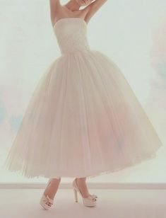 tea-length tulle dress. Beautiful!