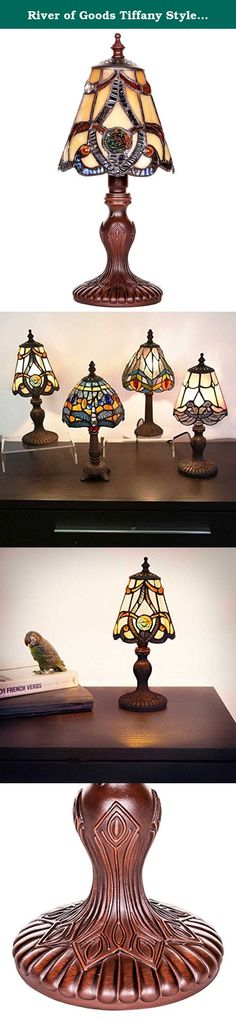 """River of Goods Tiffany Style Stained Glass Mini Brandi Amber Table Lamp, 11.5"""". Don't let the size fool you! this mini table lamp is full of elegance! the brandi is hand crafted with over 90 pieces of glass and 4 cabochons. The shade is adorned with 2 medallion rosettes, providing the finishing touch. The lattice pattern on the shade accents the striations of delicate amber glass. This is a perfect color combination for any room in your home and makes a great gift item!."""