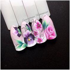New Ideas For Nails Design Valentines Heart Art Tutorials Rose Nail Art, Rose Nails, Flower Nail Art, Uñas One Stroke, One Stroke Nails, Nail Art Designs, Nail Polish Designs, Nails Design, Nails & Co
