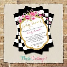Elegant floral black and white stripe baby shower invitation elegant floral black and white stripe baby shower invitation personalized printable file hot pink watercolor flowers shower invitations filmwisefo