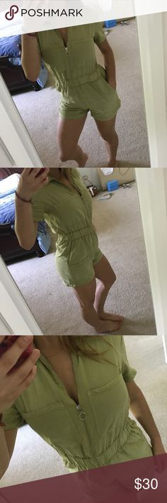 Breaks Romper Such a cute army green Romper! The zipper is such a badass element to this. Plus, it has pockets! The waist is elastic so that adds another level of comfort. Pants Jumpsuits & Rompers