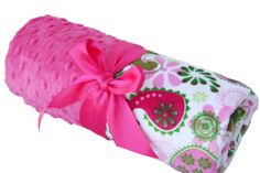 Pink Paisley Minky Chevron Baby Blanket with Pink Dot by babyboos, $30.00
