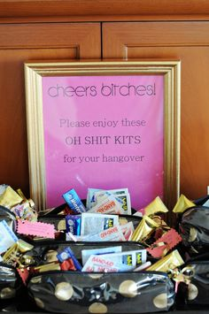 post bachelorette party. Don't like the sign but the bags are a cute idea