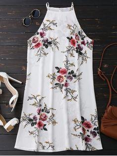 Floral High Neck A-Line Dress - FLORAL S Mobile